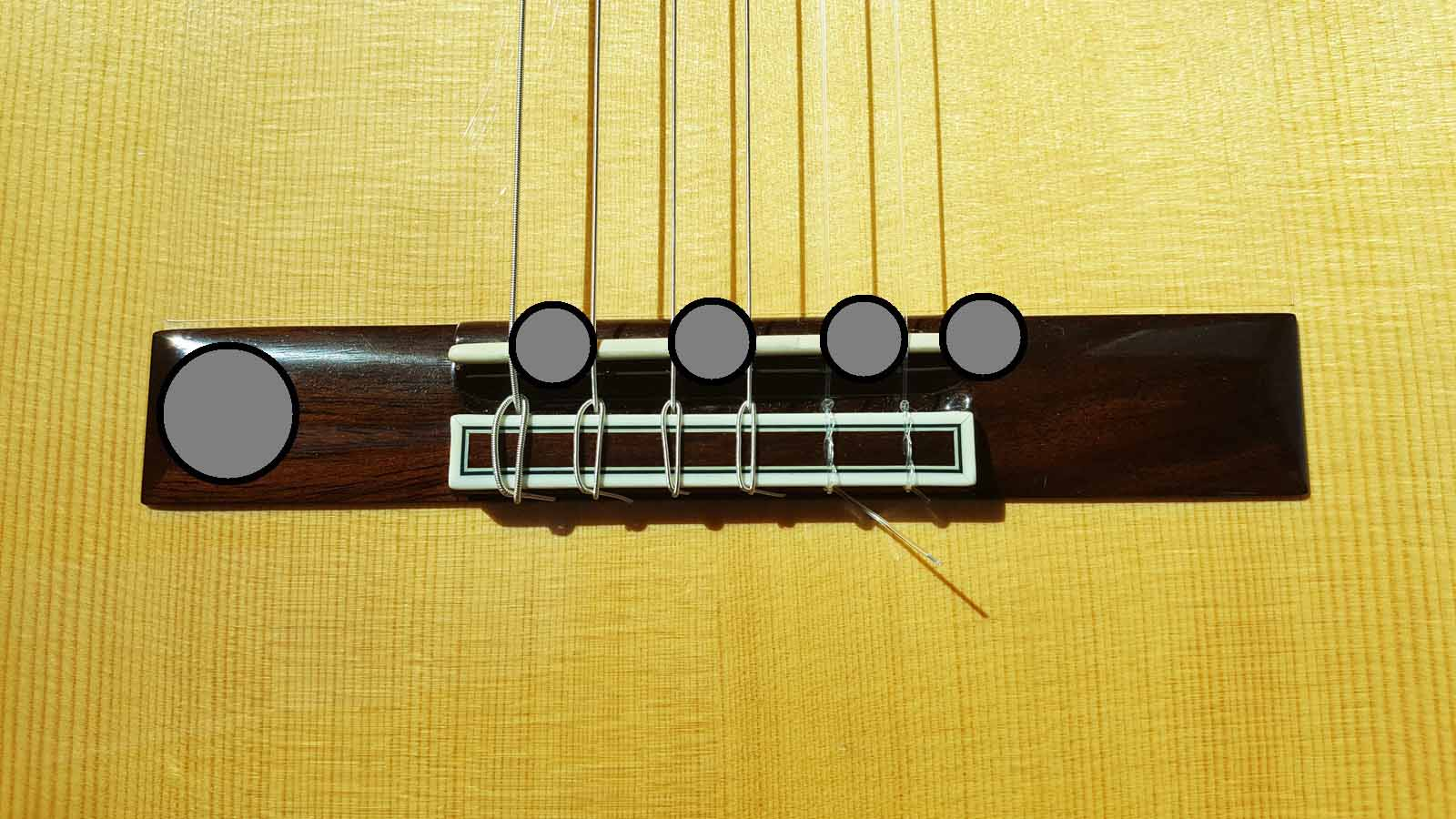 disc mounting locations for nylon string guitar